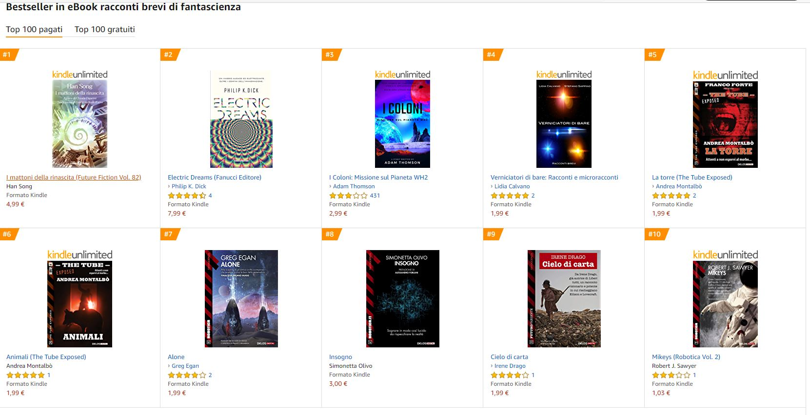 Classifica Amazon racconti SF
