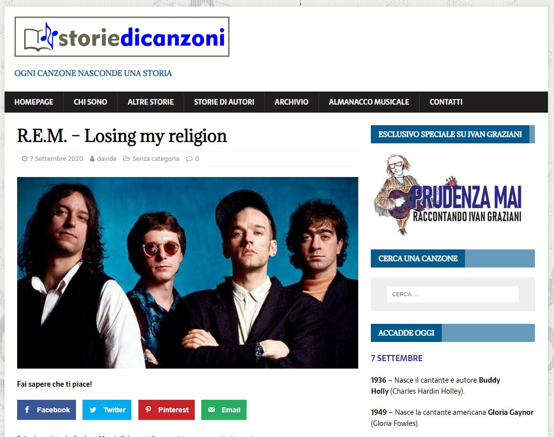 STORIE DI CANZONI: LOSING MY RELIGION