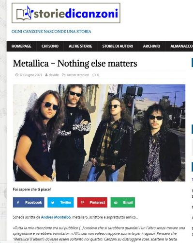 Storie di Canzoni: Nothing Else Matters - Metallica